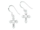 Sterling Silver and Cubic Zirconia Polished Cross Dangle Earrings style: QE7367