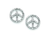 Sterling Silver Cubic Zirconia Peace Symbol Post Earrings style: QE7379