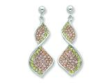 Sterling Silver Pink And Green Cubic Zirconia Twisted Post Dangle Earrings style: QE7421