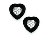Sterling Silver Polished Onyx and Cubic Zirconia Heart Post Earrings style: QE7427
