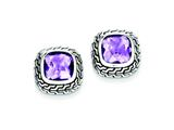 Sterling Silver Antiuqed Purple Cubic Zirconia Earrings style: QE7464
