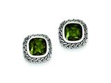 Sterling Silver Antiqued Green Cubic Zirconia Earrings style: QE7465