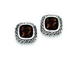 Sterling Silver Antiuqed Brown Cubic Zirconia Earrings style: QE7466
