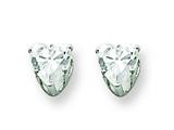Sterling Silver 4mm Heart 3 Prong Cubic Zirconia Stud Earrings style: QE7535