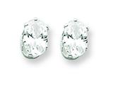 Sterling Silver 6x4 Oval Cubic Zirconia Stud Earrings style: QE7543