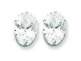 Sterling Silver 9x7 Oval Cubic Zirconia Stud Earrings style: QE7546