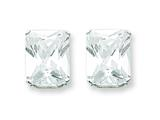 Sterling Silver 10x8 Emerald Stud Earrings style: QE7559