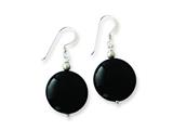 Sterling Silver Black Agate Dangle Earrings style: QE7625