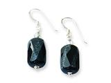 Sterling Silver Black Agate and Crystal Earrings style: QE7627