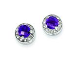 Sterling Silver Diamond and Amethyst Earrings style: QE7735AM