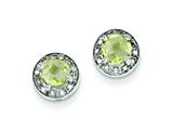 Sterling Silver Diamond and Lemon Quartz Earrings style: QE7735LQ