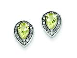 Sterling Silver Diamond and Lemon Quartz Earrings style: QE7736LQ