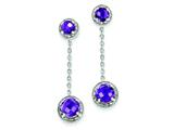 Sterling Silver Diamond and Amethyst Earrings style: QE7738AM