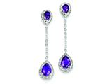 Sterling Silver Diamond and Amethyst Earrings style: QE7739AM