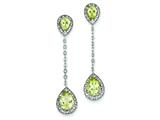 Sterling Silver Diamond and Lemon Quartz Earrings style: QE7739LQ