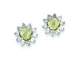 Sterling Silver Diamond and Lemon Quartz Earrings style: QE7741LQ