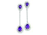 Sterling Silver Diamond and Amethyst Earrings style: QE7745AM