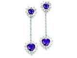 Sterling Silver Diamond and Amethyst Earrings style: QE7746AM