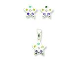 Sterling Silver Multi-colored Cubic Zirconia Star Earringsand Pendant Set - Chain Included style: QE7SET