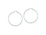 Sterling Silver Diamond Cut 2x55mm Hoop Earrings style: QE8082