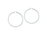 Sterling Silver Bright Cut 2x70mm Hoop Earrings style: QE8085