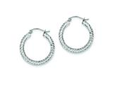 Sterling Silver Diamond Cut 3x25mm Hoop Earrings style: QE8087