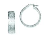 Sterling Silver Brushed and Diamond Cut Hollow Hoop Earrings style: QE8415