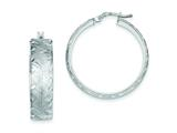 Sterling Silver Brushed and Diamond Cut Hollow Hoop Earrings style: QE8416