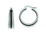 Sterling Silver and Black Rhodium Satin Finish Triple Hoop Earrings style: QE8477