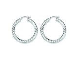 Sterling Silver Bright Cut Hoop Earrings style: QE8485