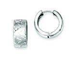 Sterling Silver Rhodium Bright Cut Brushed Hinged Hoop Earrings style: QE8519