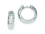 Sterling Silver Rhodium Polished Bright Cut Hoop Earrings style: QE8524