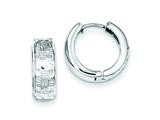 Sterling Silver Rhodium Polished Diamond Cut Hinged Hoop Earrings style: QE8525