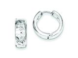 Sterling Silver Rhodium Diamond Cut Polished Hinged Hoop Earrings style: QE8531