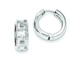 Sterling Silver Rhodium Bright Cut Polished Hinged Hoop Earrings style: QE8534