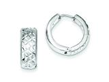 Sterling Silver Rhodium Bright Cut Brushed Hinged Hoop Earrings style: QE8536