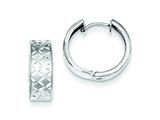 Sterling Silver Rhodium Brushed Diamond Cut Hoop Earrings style: QE8537
