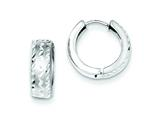 Sterling Silver Rhodium Brushed Diamond Cut Hinged Hoop Earrings style: QE8540