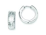 Sterling Silver Rhodium Bright Cut Brushed Hinged Hoop Earrings style: QE8541