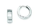 Sterling Silver Rhodium Brushed Bright Cut Hinged Hoop Earrings style: QE8547