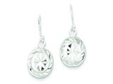 Sterling Silver Oval Diamond Cut Shepherd Hook Earrings style: QE8615