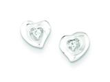 Sterling Silver Cubic Zirconia Heart Post Earrings style: QE8623