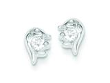 Sterling Silver Dolphin Cubic Zirconia Post Earrings style: QE8666