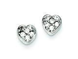 Sterling Silver Cubic Zirconia Heart Post Earrings style: QE8686