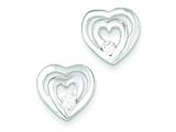 Sterling Silver Double Heart Cubic Zirconia Post Earrings style: QE8713