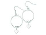 Sterling Silver Textured Heart And Polished Bead Dangle Earrings style: QE8721