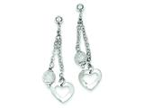 Sterling Silver Polished Heart and Textured Bead Dangle Post Earrings style: QE8736