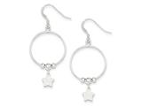 Sterling Silver Textured Star And Polished Bead Dangle Earrings style: QE8776
