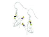 Sterling Silver Polished Amethyst Citrine Peridot Butterfly Earrings style: QE8801
