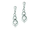 Sterling Silver Polished Bead Post Dangle Earrings style: QE8838